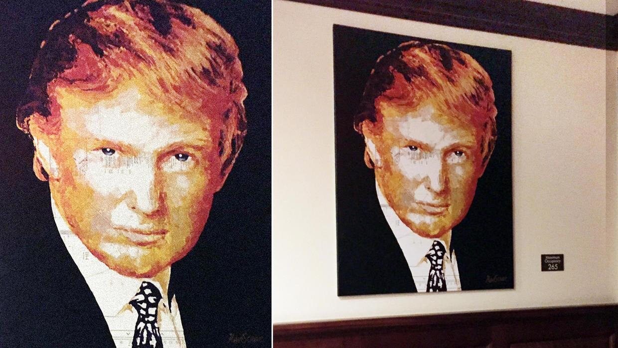 Trump's painting that he bought with charity money hanging in one of...