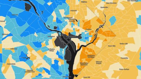 La brecha entre ricos y pobres en Washington DC parece quedar claramente...