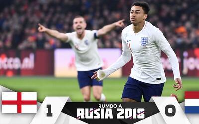 Jesse Lingard celebra el gol de Inglaterra ante Holanda.