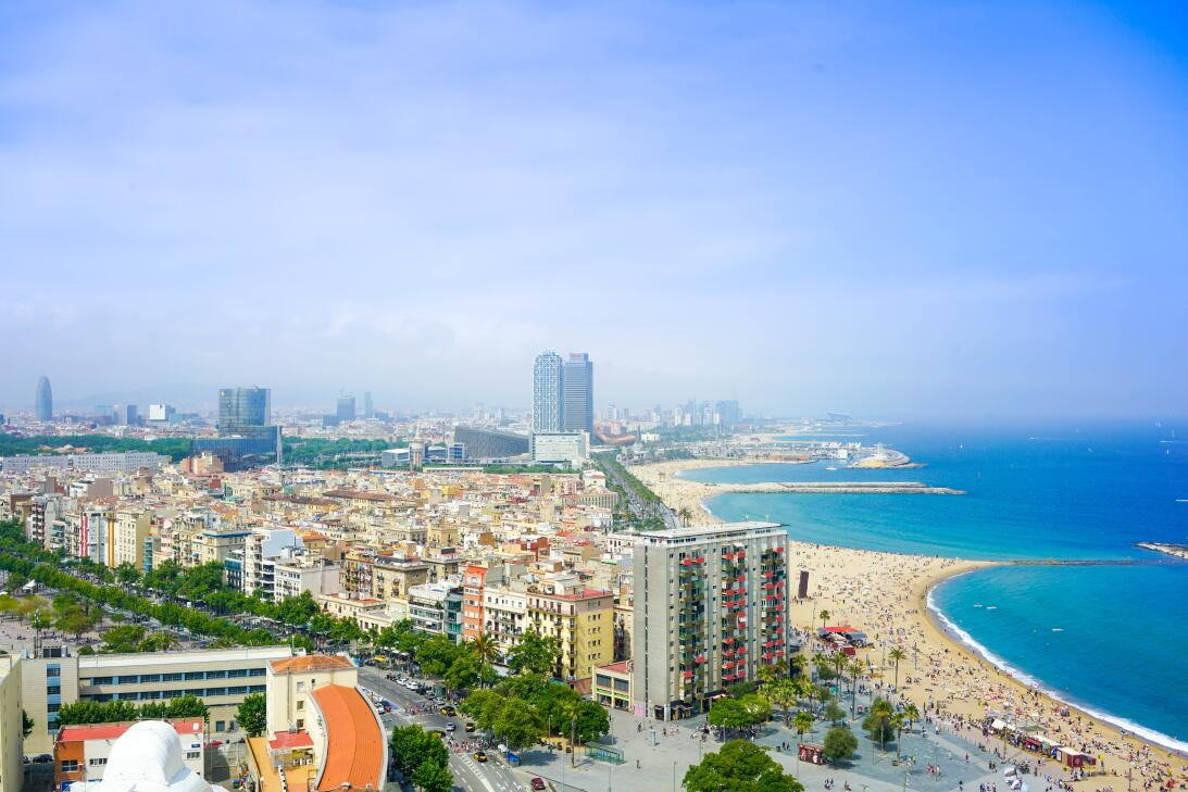 Aerial view of Barcelona, Las Ramblas and the beach.