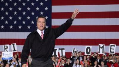 El candidato presidencial republicano, Mitt Romney, durante un acto de c...