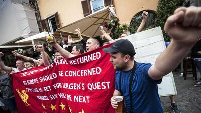 Los fanáticos del Liverpool fueron protagonistas de la previa del partido ante la Roma