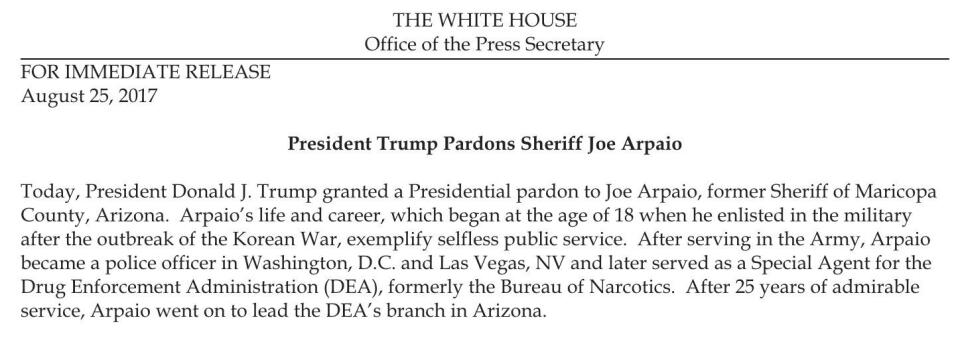 He was pardoned by President Trump on Friday evening (Aug 25 2017) as Hu...