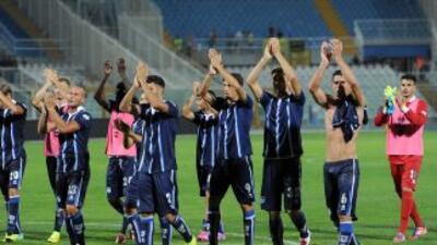 Los jugadores delPescara celebran su triunfo sobre el Chievo Verona.
