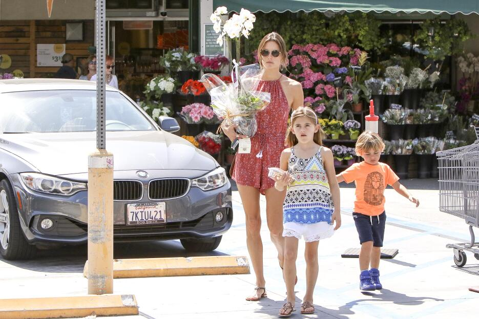 Alessandra Ambrosio is seen with her children Anja and Noah