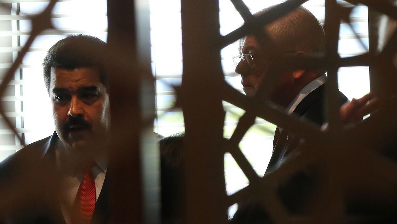 Nicolás Maduro tras un encuentro con el jefe de Naciones Unidas, Ban Ki-...