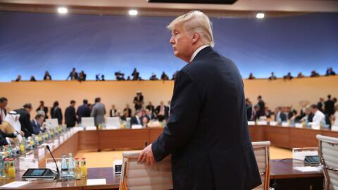 Donald Trump durante una de las reuniones del G-20 en Hamburgo,
