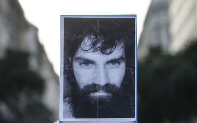 La imagen de Santiago Maldonado en una protesta en Buenos Aires.