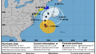 El huracán José generará fuertes marejadas al acercarse a la costa este de EEUU
