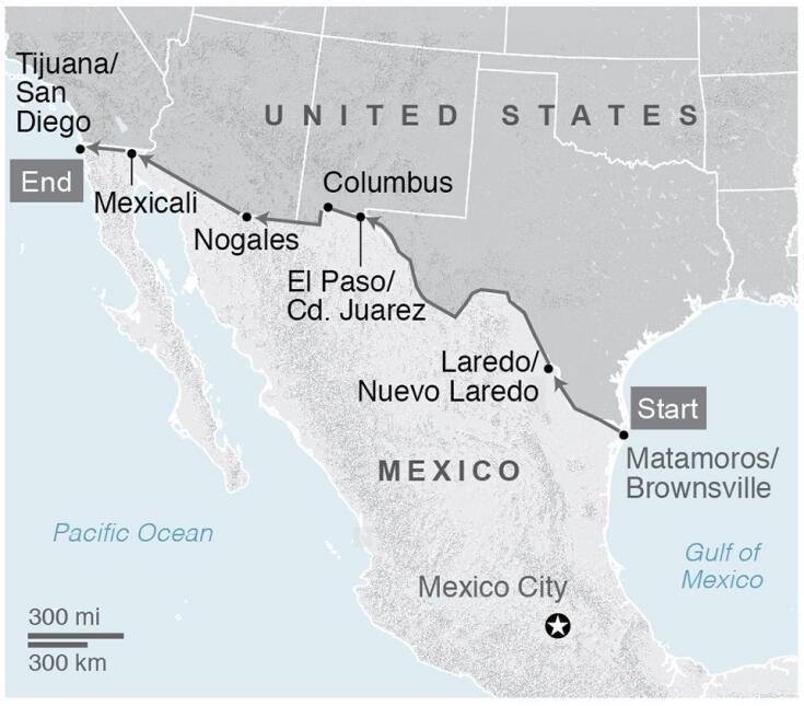 Mark Hainds contó que caminó las 2,000 millas lo más cerca de la fronter...