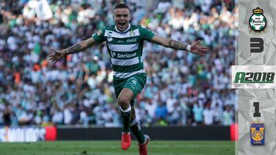 'Cabecita de oro', Rodríguez hizo doblete y comandó el triunfo de Santos sobre Tigres