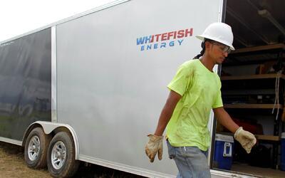 Un contratista de Whitefish Energy en Manatí, Puerto Rico.