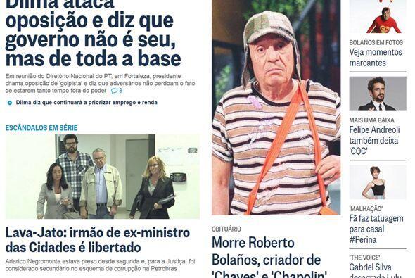 El portal del diario O Globo de Brasil, publicó una fotografía en grande...