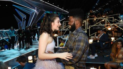 Lorde and Khalid share a friendly moment at the MTV Video Music Awards a...