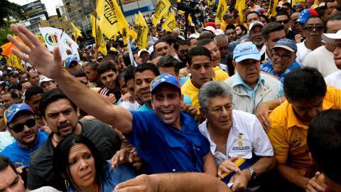 Tres de los líderes de la oposición venezolana -Henrique Capriles, Henry...