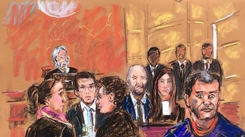 Dibujo de la audiencia de este viernes 3 de febrero, donde aparece El Ch...