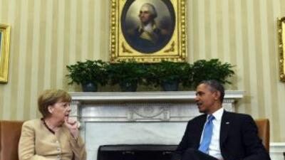 El presidente de EEUU y la canciller de Alemania inician una cita domina...