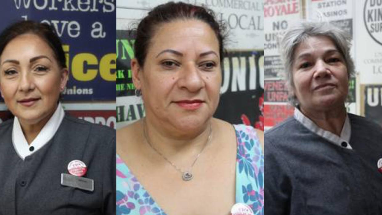 Ofelia Díaz-Cárdenas, Celia Vargas y Dora Patricia Rivera, empleadas de...