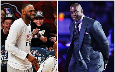 LeBron muestra su respeto por Magic Johnson.