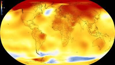Este mapa muestra la temperatura global promedio de la Tierra de 2013 a...
