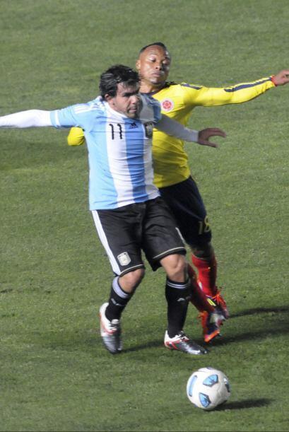 Carlos Tevez estuvo apagado en este partido, muy bien marcado por Yepes...