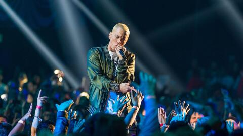Rapper Eminem performs on stage at the 2014 MTV Movie Awards at Nokia Th...