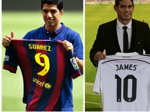 El delantero uruguayo Luis Suárez y el creativo colombiano James...