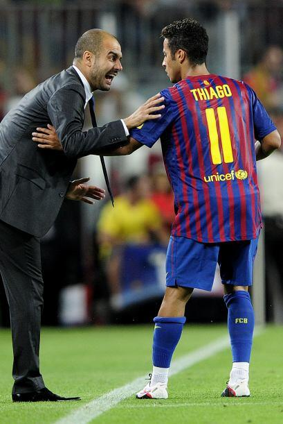 El técnico Josep Guardiola felicitó a su jugador.