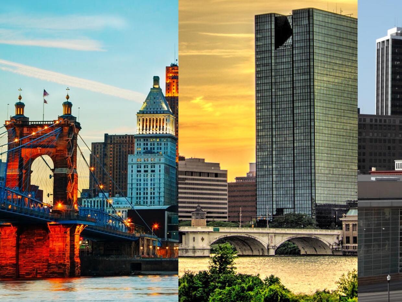 Cincinnati, Toledo y Fort Wayne (de izquierda a derecha) comparten el se...