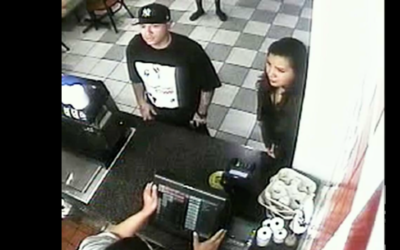 Las cámaras de vigilancia del restaurante captaron al sospechoso...