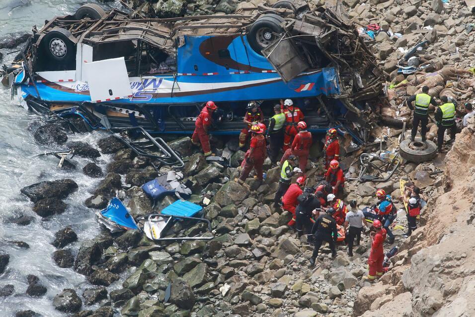 """Al menos 48 personas murieron al caer un autobús en la """"curva del diablo..."""