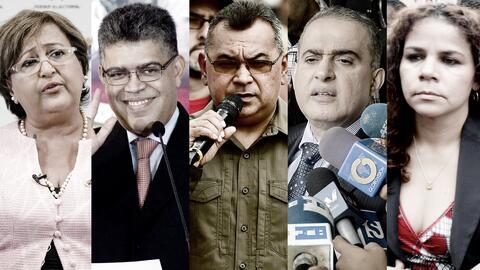 La presidenta del CNE, Tibisay Lucena; el exvicepresidente Elías Jaua; e...
