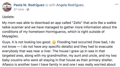 Mensaje de Paola M. Rodríguez en Facebook sobre la situación en Hormigue...
