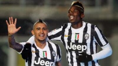 Vidal y Pogba, dos de los anotadores de la 'Juve' en su triunfo sobre el...