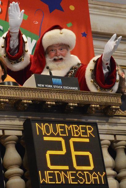 En Nueva York, Santa visitó la casa de bolsa justo el día de gracias.