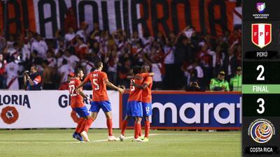 Costa Rica lo vuelve a hacer: vence de visita 3-2 a Perú tras derrotar a Chile
