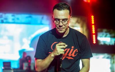 Rapper Logic performs on stage as the Greek Theatre on July 9, 2017 in L...
