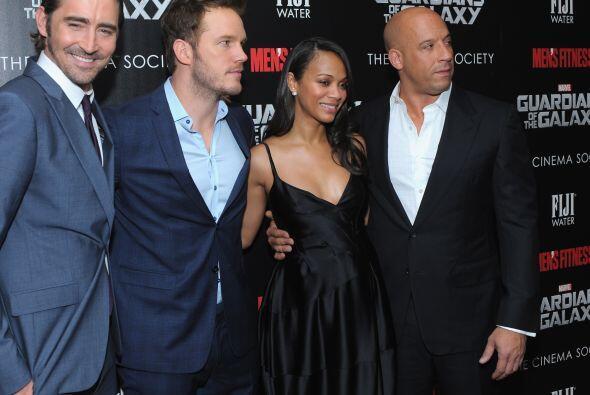 Zoe con Lee Pace, Chris Pratt y Vin Diesel.
