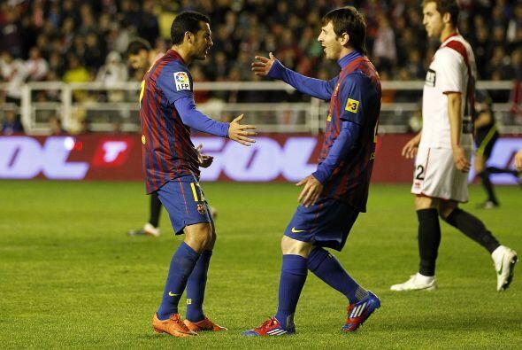 Tras un gol de Keita a pase de Messi, luego fue el turno de Pedro.
