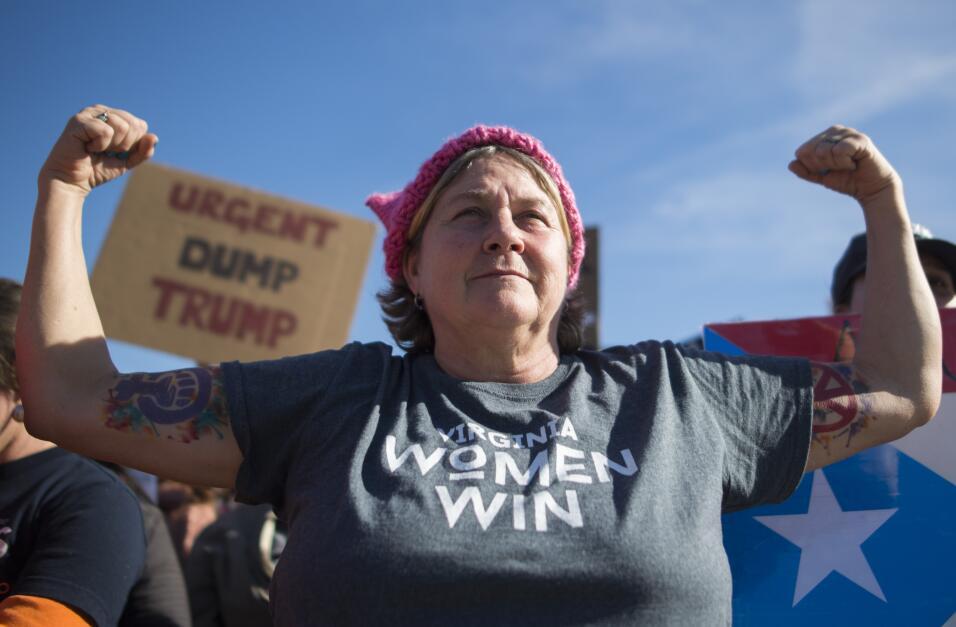 La activista Lisa Lucas Gardner retratada en la protesta en Washington, DC.