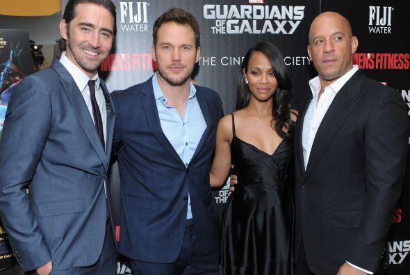 Lee Pace, Chris Pratt, Zoe Saldaña y Vin Diesel.