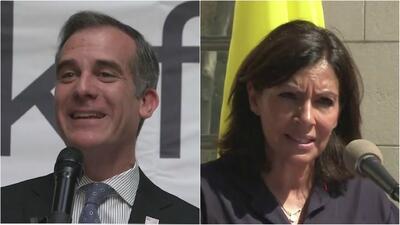 Alcalde de Los Ángeles y su homóloga de París, Francia, conmemoraron el aniversario del 9/11