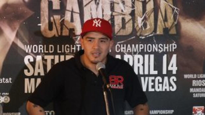 Brandon Ríos mientras acusaba a Yuriorkis Gamboa de cobarde en Miami.
