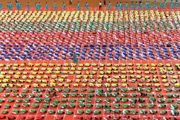 Vista aérea de las preparaciones donde se ve el colorido creado por los...