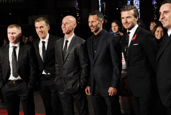 Paul Scholes, Phil Neville, Nicky Butt, Ryan Giggs, David Beckham y Gary...