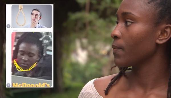 Una foto de la estudiante Aina Shola Adewunmi con una soga en su cuello...