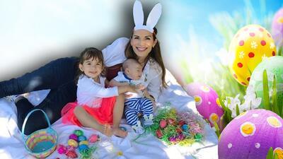 Liam celebró su primera Pascua junto a su hermanita Michelle (fotos)