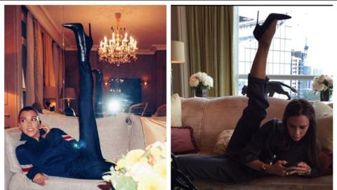Kourtney Kardashian y Victoria Beckham