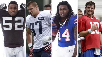 Khalil Mack,Rob Gronkowski,Sammy Watkins yEli Manning(AP-NFL).