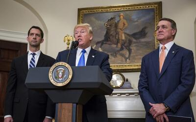 President Donald Trump introduces the RAISE Act with Sen. Tom Cotton and...